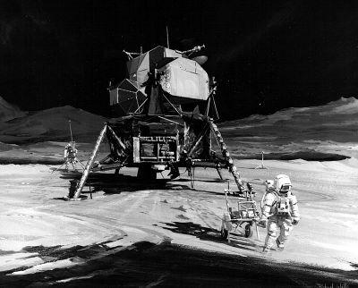 Wizja artystyczna eksploracji w ramach misji Apollo-14 (NASA/scan: J.L. Pickering)