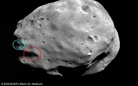 Proponowane miejsca lądowania sondy Phobos-Grunt / Credits - ESA, DLR, FU Berlin (G. Neukum)