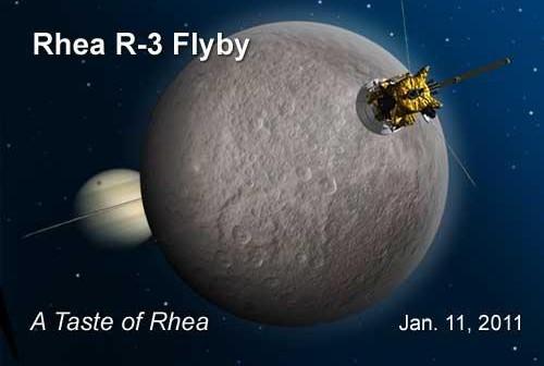 Zbliżenie R-3 sondy Cassini do Rei - okolicznościowa grafika / Credits: NASA
