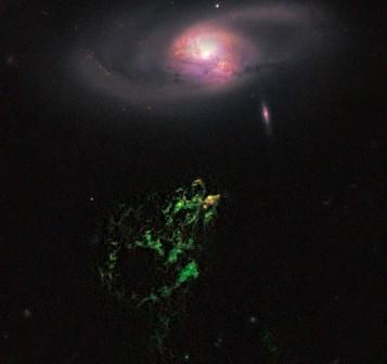 Voorwerp Hanny okiem HST / Credits - NASA, HST, ESA, W. Keel (University of Alabama), Galaxy Zoo
