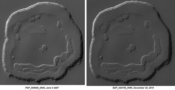 Marsjański uśmiech w 2007 i w 2010 roku / Credits - NASA, JPL, University of Arizona