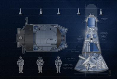 Załogowy statek transportowy Almaz wzorowany na rosyjskim TKS / Credits - Excalibur Almaz Ltd.