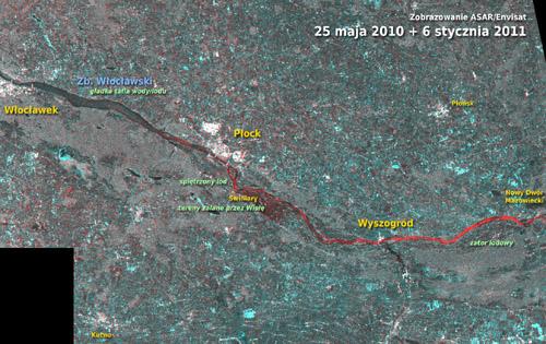 Powyzej: zestawienie obrazów z maja 2010 i stycznia 2011. Kolor czerwony oznacza wzrost szorstkości. Na obszarze Wisły wynika on najprawdopodobniej z pojawienia się spiętrzonego lodu. Można również zauważyć wzrost szorstkości terenu w okolicy Świniar. To nie piętrzący się lód, ale znak, że majowa woda już zniknęła, a opadając i parując odsłoniła naturalne podłoże, które jest bardziej szorstkie niż tafla wody. Rys.: Andrzej Kotarba/CBK PAN/ESA.