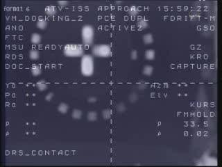 Chwilę po dokowaniu - widać sygnał CAPTURE / Credits - NASA TV