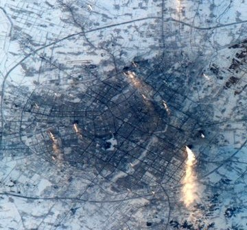 Stolica prowincji Jilin w północnych Chinach. Zdjęcie wykonane w dniu 7 lutego 2011 roku. (Credits: ESA/NASA)