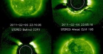 Mozaika obrazów przesłanych przez sondy STEREO Ahead i Behind / Credits - NASA