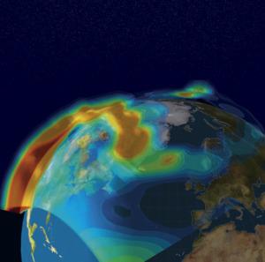 Symulacja burzy jonosferycznej nad Ameryką Północą z 30 października 2003 / Credits: Norwegian Academy of Science and Letters
