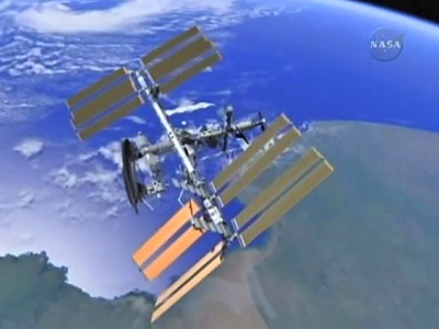 Wizualizacja ISS z zacumowanym Discovery / Credits: NASA