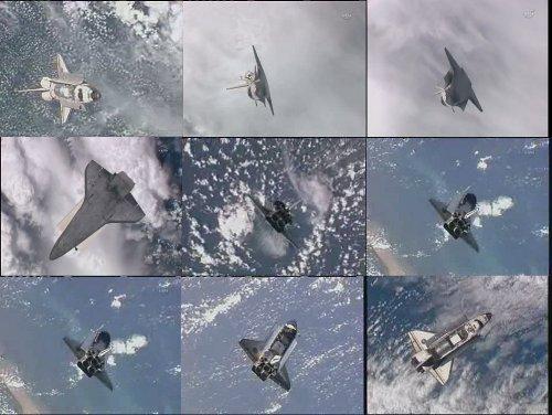 Mozaika przedstawiająca manewr RPM promu Discovery / Credits - NASA TV, kosmonauta.net