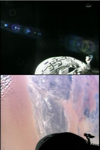 Widok z kamery umieszczonej w ładowni, widoczne światła w kokpicie, na drugim ujęciu Tunezja i Libia / Credits: NasaTv