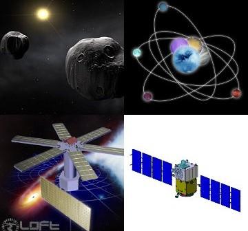 Grafiki związane z czterema kandydatami na misję M3 / Credits - zespoły MarcoPolo-R, ECHO, LOFT i STE-QUEST