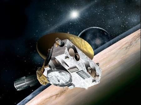 Wizja artystyczna sondy kosmicznej New Horizons w układzie Pluton - Charon (NASA)