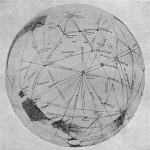 Mapa Marsa Lowella, wykonana w trakcie opozycji z 1903 roku; u góry znajduje się region Solis Lacus (Nature)
