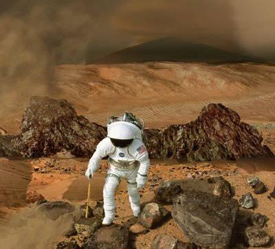 Wizja artystyczna przedstawiająca astronautę badającego powierzchnię Czerwonej Planety (NASA)