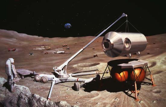 Budowa bazy księżycowej z przetransportowanych elementów (NASA/Beyond Apollo Blog)