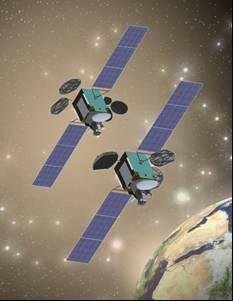 Turksat-4A i Turksat-4B na orbicie - wizja artystyczna / Credits: Mitsubishi