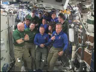 Ceremonia pożegnalna na pokładzie ISS / Credits - NASA TV