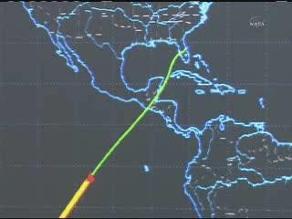 17:34 CET - Discovery u wybrzeży Ameryki / Credits - NASA TV