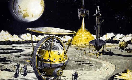 Wizja artystyczna eksploracji Księżyca i załogowej bazy, położonej wewnątrz jednego z kraterów (American Bosch Arma Corporation, 1959)