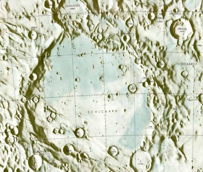 Fragment mapy Księżyca przedstawiająca rejon krateru Schickard (NASA)