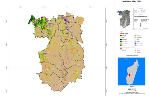 Mapa regionu Menabe (Madagaskar), która zostanie użyta w fazie planowania inwestycji irygacyjnych i drogowych przez Międzynarodowy Fundusz Rozwoju Rolnictwa (IFAD). Opracowano ją dzięki satelitom Europejskiej Agencji Kosmicznej (ESA). (Credits: GAF)
