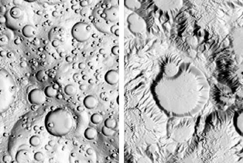 Ilustracje są komputerowymi modelami demonstrującymi jak zmienia się krajobraz pod wpływem opadów. Model po lewej stronie to niedotknięta erozją powierzchnia z kraterami meteorytowymi. Model po stronie prawej, to ta sama powierzchnia, na którą przez tysiące lat padały deszcze. Do złudzenia przypomina łańcuch wulkanicznych wzniesień. (Credit: Copyright A. Howard)