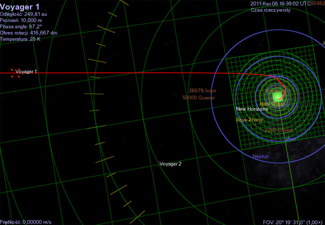 Spojrzenie, jeśli można tak powiedzieć, z góry na Układ Słoneczny i uciekającego zeń Voyagera.