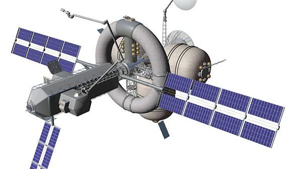 Ilustracja przedstawia koncepcję wielozadaniowego, załogowego statku kosmicznego NAUTILUS-X. (Credits: NASA/Mark L. Holderman)