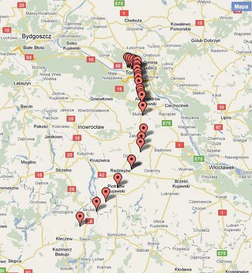 Trajektoria lotu balonu Hevelius. Ostatni punkt został nadany z wysokości ponad 26 km / Credits - Adam Piech, google maps