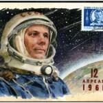 Jedna z kart okolicznościowych upamiętniająca kosmiczny lot Jurija Gagarina