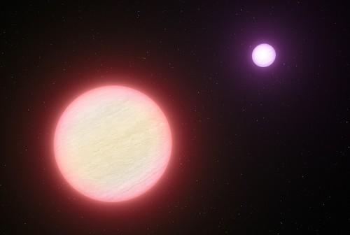 Ilustracja jest autorską interpretacją układu CFBDSIR 1458+10, którego oba składniki są brązowymi karłami. Obiekt widoczny w tle, CFBDSIR 1458+10B, ma temperaturę powierzchni zbliżoną do wrzącej wody. (CREDIT: ESO/L. Calçada)