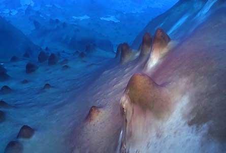 Fotografia przedstawia dno Jeziora Untersee na Antarktydzie, gdzie naukowcy odkryli fioletowe, guzkowate struktury, narastające warstwa po warstwie przez tysiące lat, w wyniku przybywania odpadów po aktywności cyjanobakterii. (Credit: Dale Andersen)