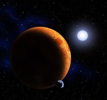 Astronomowie z CfA znaleźli parę białych karłów, które orbitują wokół siebie w 39 minut. W przeciągu milionów lat połączą się, tworząc nową gwiazdę, która spalać będzie hel / Credits: David A. Aguilar (CfA)