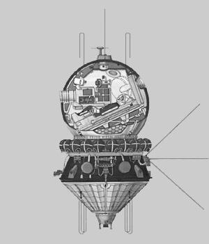 Diagram kapsuły Wostok (wraz z kosmonautą)