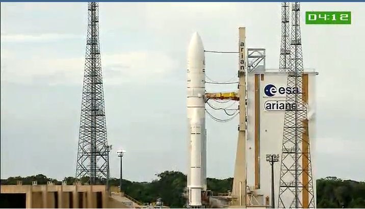 4 minuty do startu - widok na Ariane V / Credits - ArianeSpace