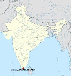 Położenie miasta Thiruvanathapuram na mapie Indii / Credits: Wikipedia