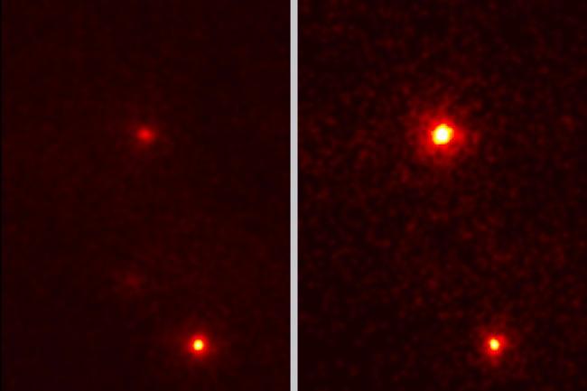 Zdjęcie z LAT pokazujące tylko promieniowanie silniejsze od 100 mln eV. Obie ekspozycje nie pokazują emisji z pulsara powodującego anomalię, gdyż została ona tutaj wycięta. Jasna struktura to inny pulsar – pulsar Geminga. Po lewej pokazano obszar rozbłysku 20 dni przed samym zdarzeniem, po prawej natomiast – 14 kwietnia / Credit – NASA/DOE/Fermi LAT/R. Buehler