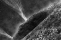 Ilustracja przedstawia artystyczną wizję wyrzutu wody z wnętrza komety Wild-2. (Credit: NASA/JPL-Caltech)