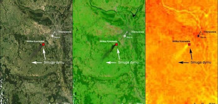 10 maja - pożar w Wólce Kosowskiej okiem satelity Aqua / Credits: NASA/GSCF/CBK PAN/A.Kotarba