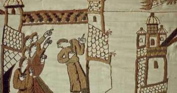 Kometa Halleya widoczna na Tkaninie z Bayeux, gdzie przedstawiono jej przelot z roku 1066 (Wikipedia)