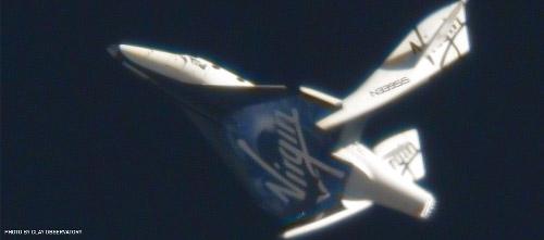 Ruchome płaty SpaceShipTwo po raz pierwszy w akcji / Credits - Clay Observatory