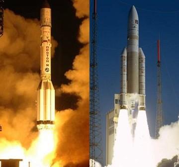 Rakiety Proton i Ariane V / Credits - ILS, ArianeSpace, CNES