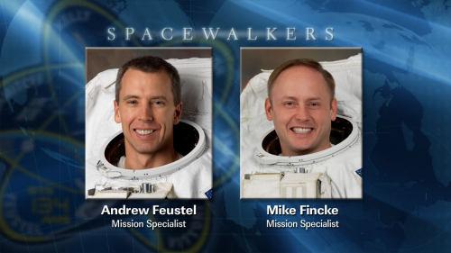 Astronauci Anderw Feustel oraz Mike Fincke, którzy wezmą udział w dzisiejszym, trzecim spacerze kosmicznym (NASA)