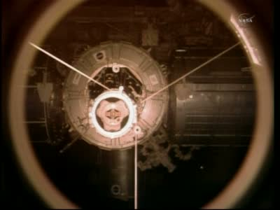 Widoczne przednie moduły amerykańskie / Credits: NASA TV