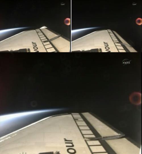 Test powierzchni sterowych FCS, dolne zdjęcie przedstawia sytuację nominalną, natomiast dwa górne wychylenia zewnętrznych i wewnętrznych lotek / Credits: NASA TV