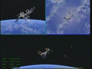 Manewr zmiany orientacji ISS podczas oblotu Sojuza / Credits - NASA TV