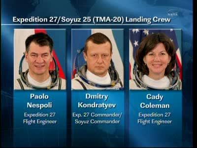 Trójka osób z Sojuza TMA-20, która już za około 6 godzin będzie na Ziemi / Credits: NASA TV