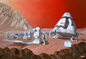 Załogowa misja na Marsie - koncepcja z 1989 roku / Credits - NASA, Les Bossinas