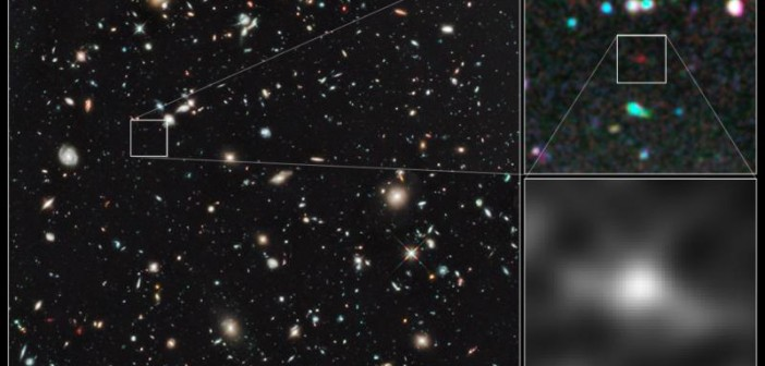 Najdalsza i jedna z najwcześniejszych galaktyk kiedykolwiek widzianych przez ludzkość we Wszechświecie jawi się jako zamglona czerwona plamka na ekspozycji Ultra Głębokiego Pola Teleskopu Hubble'a. Bazując na kolorze obiektu astronomowie przypuszczają, iż znajduje się on 13,2 miliardów lat świetlnych od nas (Wszechświat ma 13,7 mld lat). Jasność obiektu to 29 magnitudo, czyli świeci on 500 milionów razy słabiej od najsłabiej święcących gwiazd dostrzegalnych gołym ludzkim okiem. Wykonane później w tej dekadzie spektroskopowe obserwacje (przez niewyniesiony jeszcze na orbitę Teleskop Jamesa Webba) będą potrzebne aby dokładnie określić odległość do tej protogalaktyki / Credits: NASA, ESA, G. Illingworth (University of California, Santa Cruz), R. Bouwens (University of California, Santa Cruz, and Leiden University), and the HUDF09 Team
