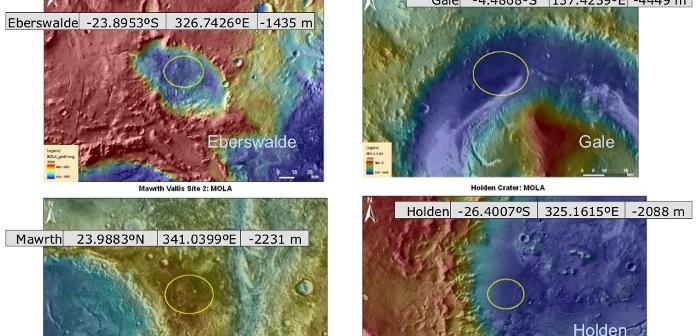 Cztery rozważane miejsca lądowania dla łazika MSL (NASA)